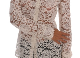 DOLCE & GABBANA WHITE FLORAL LACE BLOUSE SHIRT IT40|S