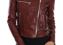 DOLCE & GABBANA BORDEAUX BIKER LAMBSKIN LEATHER JACKET MEDIUM
