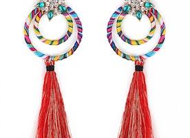 Multi-Coloured Double Hoop Tassel Earrings