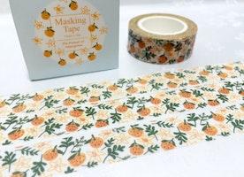 orange fruit washi tape, 10M tangerine mandarin clementine Fruit deco masking tape, yummy fruit party deco sticker tape scrapbook gift