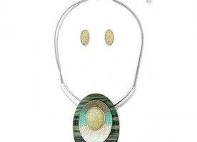 Large Oval Stone Necklace Set