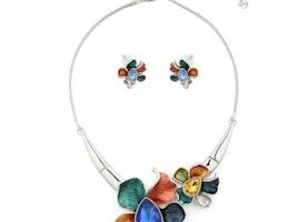 Double Flower Necklace Set