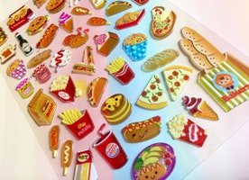 food sticker, fast food burger hot dog Hamburger Cartoon food epoxy sticker, happy food party sticker cooking diary planner recipes food icon