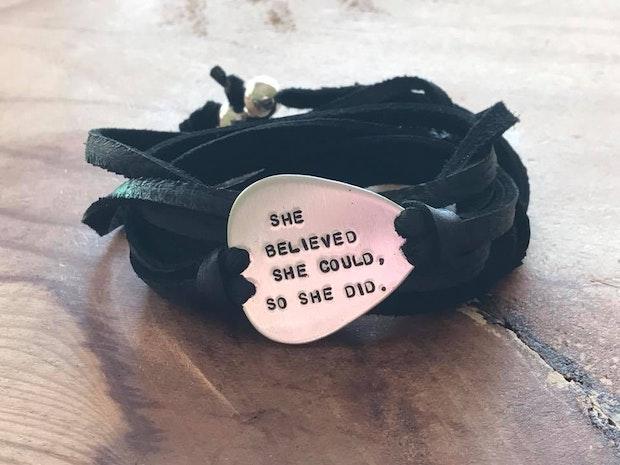 Custom silver guitar pick wrap bracelet
