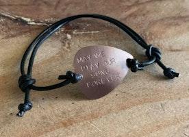Custom guitar pick adjustable bracelet