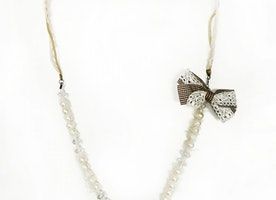 Beaded Pearl Long Necklace With Bow