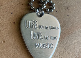 Personalized silver guitar pick ball chain necklace