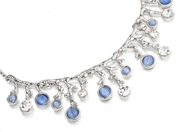 Branches and Gems Necklace Set - Silver/Blue