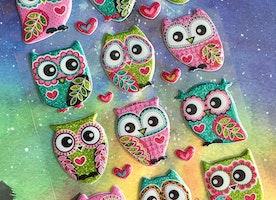 owl sticker pretty owl glitter owl sticker big eyes owl cute owl colorful owl puffy sticker fancy owl decor sticker diary sticker gift