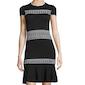 Shoshanna Short-Sleeve Stitched-Knit Dress, Black/White