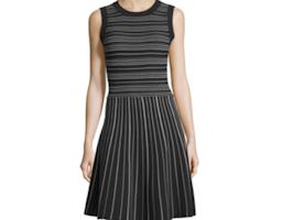 kate spade new york sleeveless striped fit-&-flare dress, black/cream