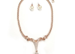 Pearl Drop Necklace Set - Rose Gold