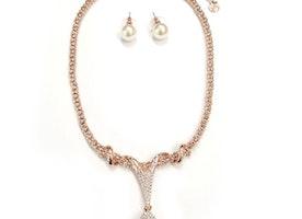 Pearl Drop Necklace Set - Rose Gold