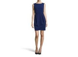 Halston Front-Pleat Sleeveless Dress