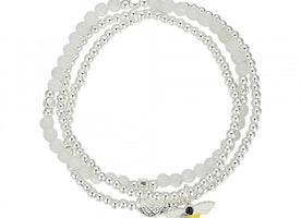 Bee Charm Stretch Beaded Bracelet