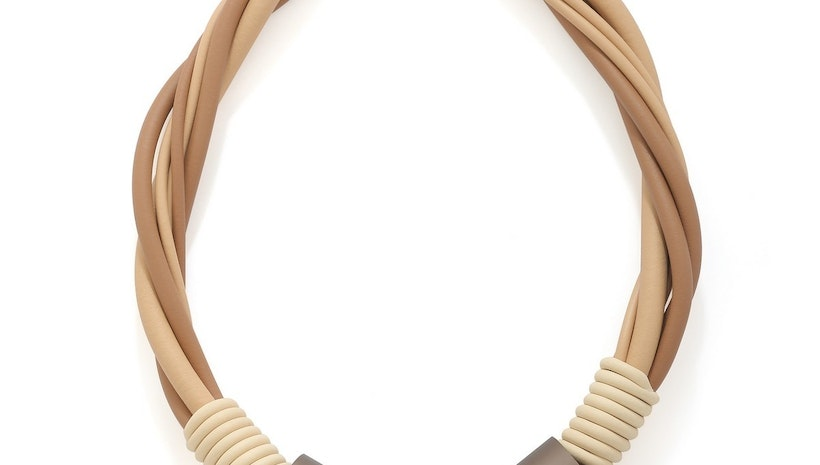 Twisted Strands Rubber Necklace with Tubes - Mogul