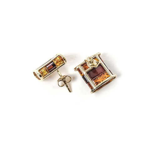 """14k Gold Earrings with Natural Baltic Amber """"Aesthetics"""""""