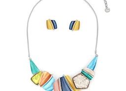 Textured Pieces & Stone Necklace Set