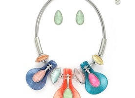 Leaves Water Droplet Necklace Set - Multi