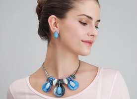 Leaves Water Droplet Necklace Set - Blue