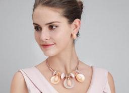 Leaves Water Droplet Necklace Set - Rose Gold