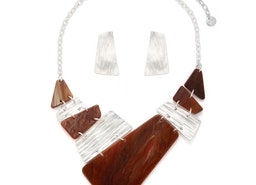 Shapes Collar Necklace Set - Silver/Brown