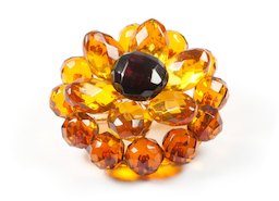"Natural Baltic Amber Brooch ""Lotus"""