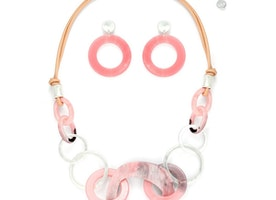 Link Combined Pieces Necklace Set - Pink
