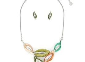 Delicate Leaves Necklace Set - Green