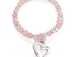 Open Heart Charm Bead Stretch Bracelet - Silver/Pink