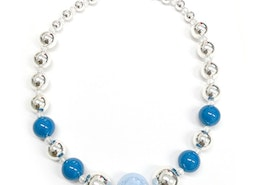 Mixed Beads Necklace- Silver/Blue