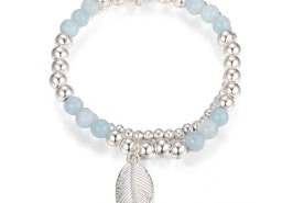 Leaf Charm Bead Stretch Bracelet - Silver/Blue