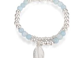 Leaf Charm Bead Stretch Bracelet - Silver/Blue
