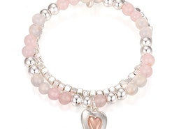 Heart Charm Bead Stretch Bracelet - Silver/Pink
