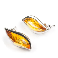 "Silver Earrings with Natural Baltic Amber ""Kecha"" Cognac"