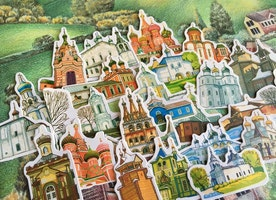 34 building sticker village house famous landmarks little House cartoon house church farm hamlet village countryside toy house sticker gift