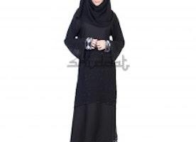 Dubai Style Umbrella design black Abaya with Double layer work