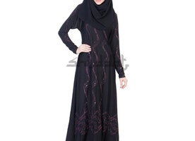 Dubai Style Umbrella design black Abaya with Maroon stone work
