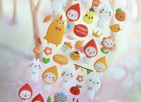 rabbit cartoon sticker rain drop cartoon headband animal cute animal epoxy sticker cheerful friends animal story animal world scrapbook gift
