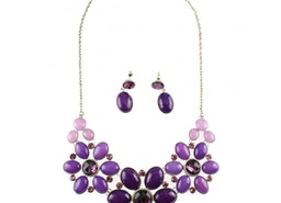 Floral Petal and Stone Necklace Set - Purple