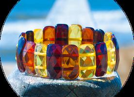 """Baltic Amber Faceted Bracelet """"Iridium"""" Multi color"""