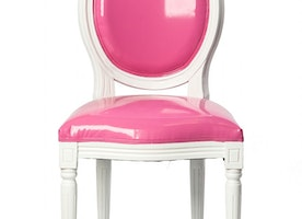 Louis Chair Fuchsia With Upholstered Back On Rent for Parties and Events