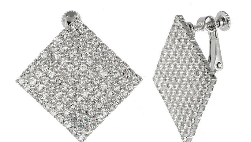 Diamond Shape Diamantes Earrings - Silver