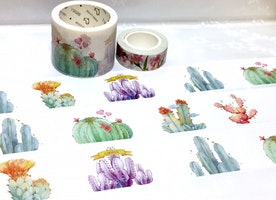 cactus plant washi tape 7M cute plant fat plant Green plant potted plant Masking tape succulent plant diary gardening planner sticker decor