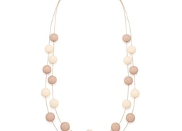 Balls Two Strand Necklace - Beige/Cream