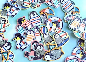 50 happy Penguin sticker penguin summer party Arctic cartoon animal flake sticker enjoy summer time animal beach party seal sticker gift