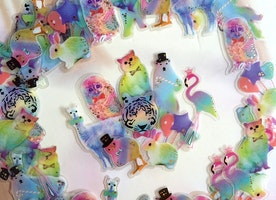 Fancy forest animal sticker Fairy tale world tiger cat rabbit owl flamingo alpaca llama polar bear sticker flake magic forest decor gift