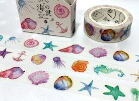 sea shell washi tape 7M ocean seashell beach shell starfish sticker tape seastone sea shell big shell seahorse jellyfish masking tape gift