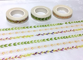 3 rolls plant pattern washi tape 5M green leave colorful leave wreath pattern sticker tape florist slim tape garden planner gift wrapping