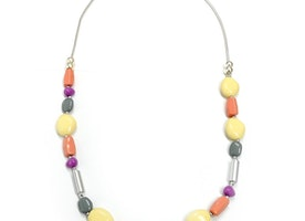 Pebble & Shapes Necklace - Multi/Silver